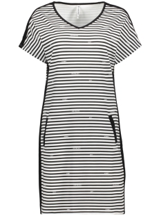 Zoso Jurk SUCCES STRIPED LOGO DRESS 193 WHITE/BLACK