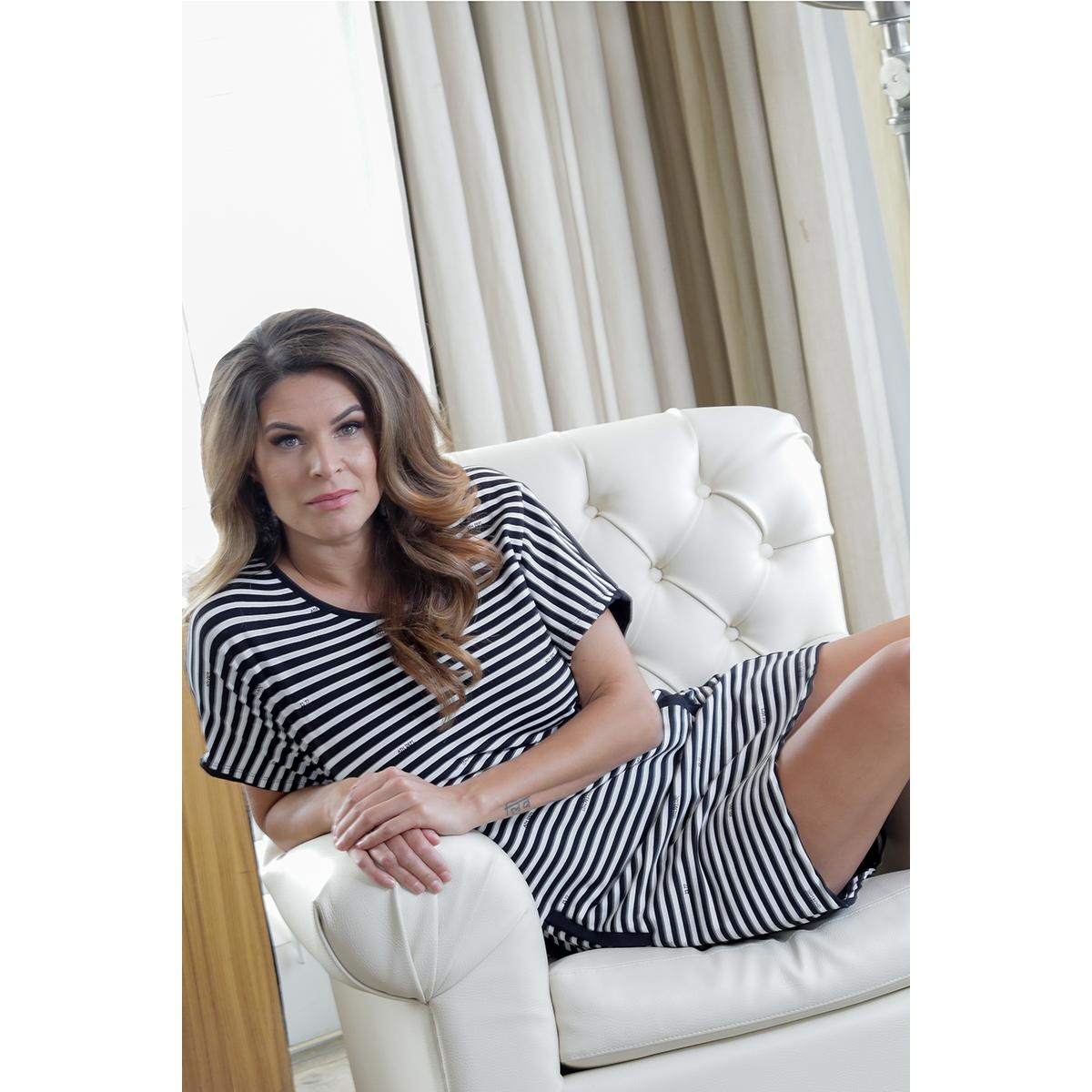 succes striped logo dress 193 zoso jurk white/black