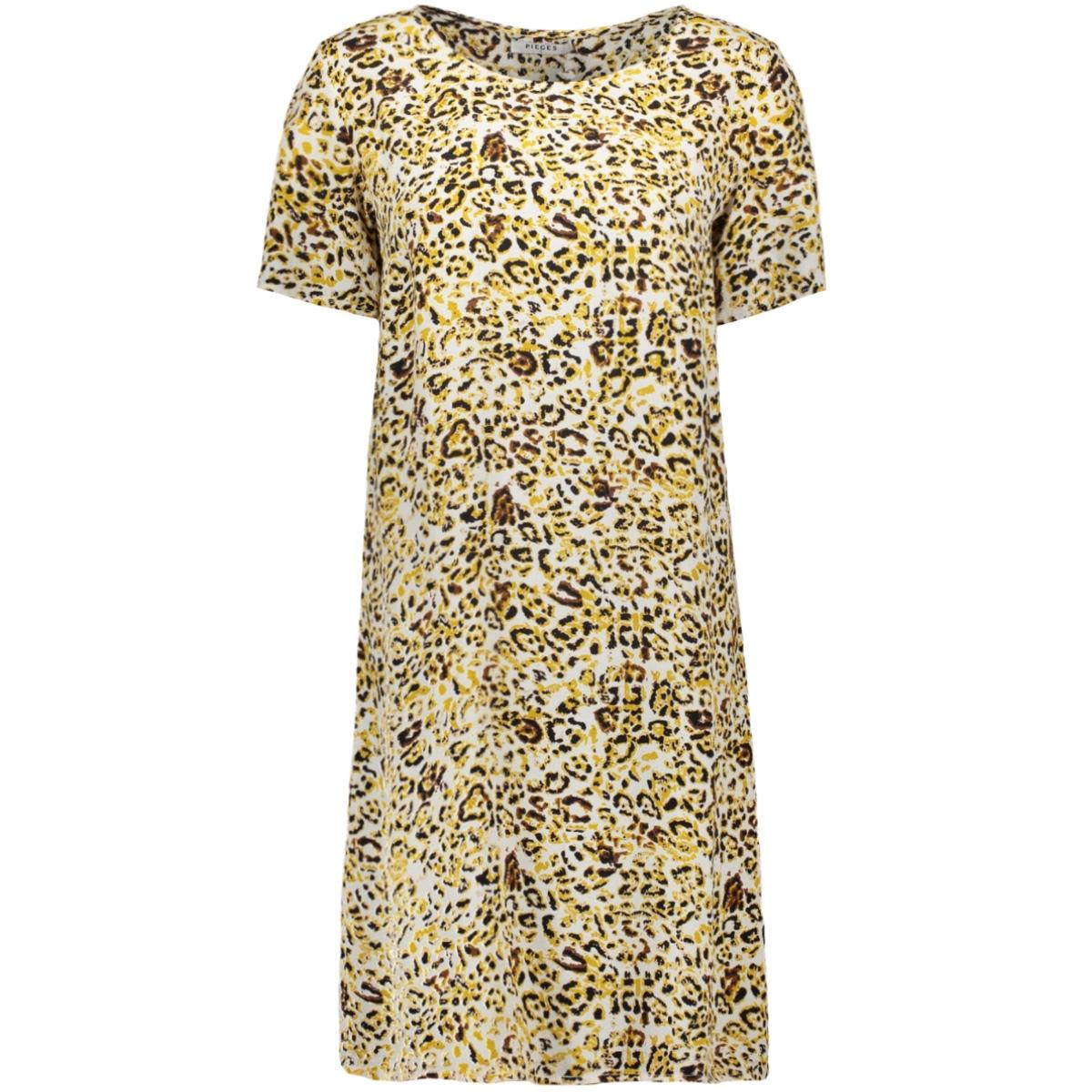 pcsussie ss dress d2d 17101336 pieces jurk bisson/leopard