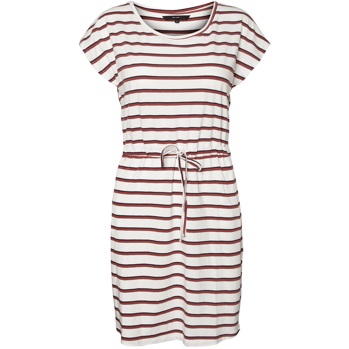 vmapril ss short dress ga color 10213298 vero moda jurk snow white/filiz navy