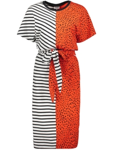 Noisy may Jurk NMLEO SS DRESS BG 27008061 Tangerine Tango/LEO PRINT