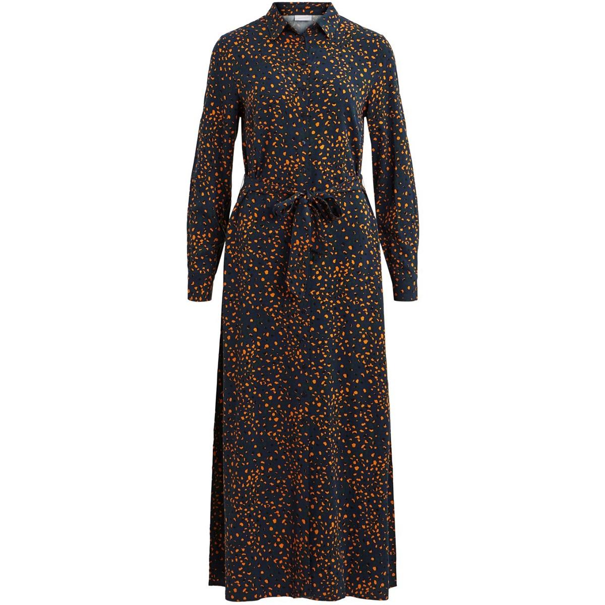 vimask tansy l/s midi dress/l 14054696 vila jurk navy blazer/tansy