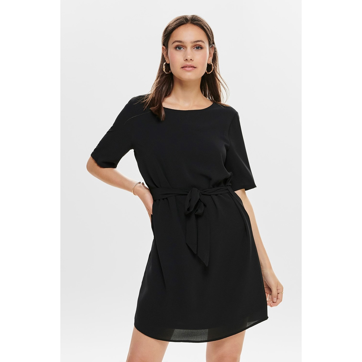 jdyamanda 2/4 belt dress wvn noos 15190690 jacqueline de yong jurk black