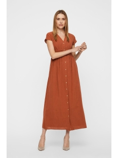 vmsammi s/l wide ankle button dress 10214561 vero moda jurk mahogany