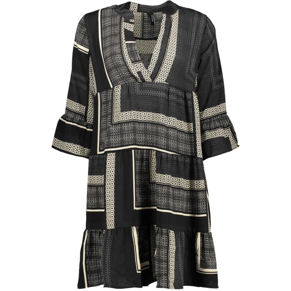 vmquinn 3/4 short dress vip 10223585 vero moda jurk black/quinn