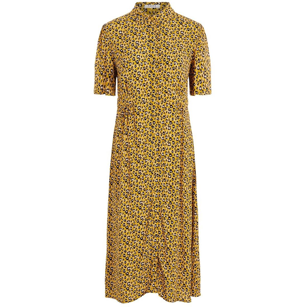 pchellia ss midi dress 17098565 pieces jurk arrowwood/artzy leo