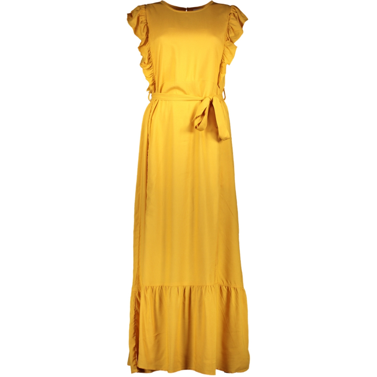 jdyaura s/l flounce dress wvn exp 15187734 jacqueline de yong jurk golden yellow
