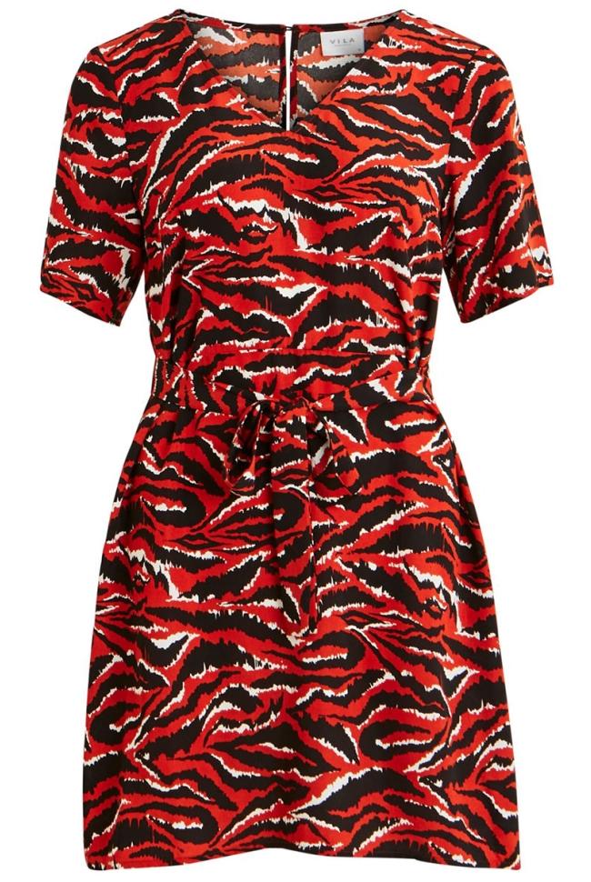 vidotilla  zebri 2/4 dress/l 14056142 vila jurk ketchup/zebri