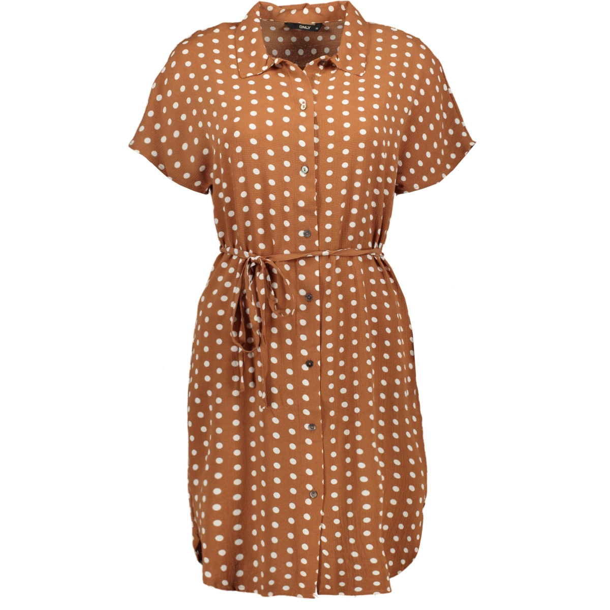onlnova lux aop s/s shirt dress 7 w 15187479 only jurk ginger bread/pretty dot