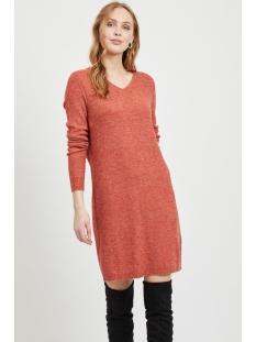 vivikka l/s knit v-neck dress - noos 14052907 vila jurk ketchup/melange