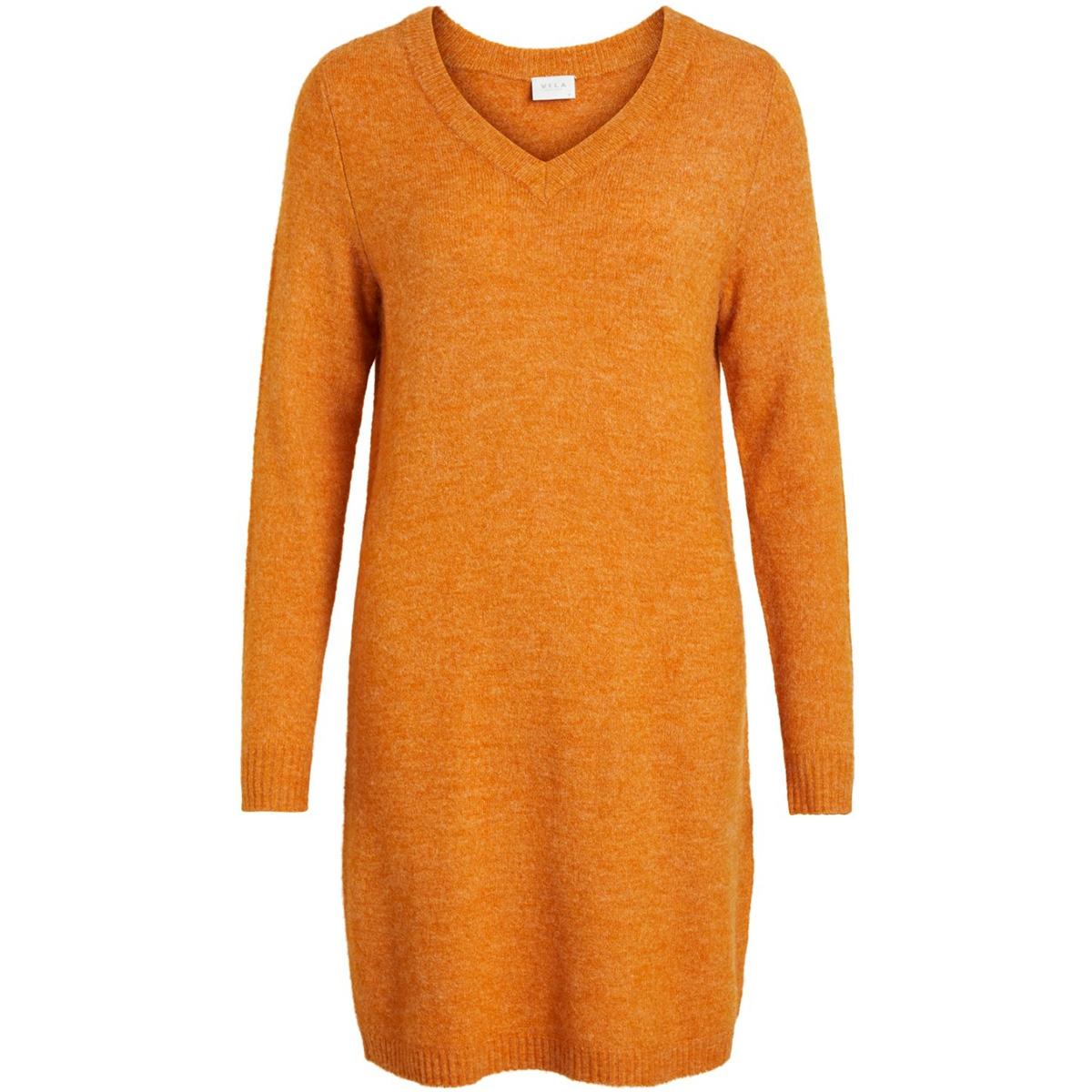 vivikka l/s knit v-neck dress - noos 14052907 vila jurk golden oak/melange