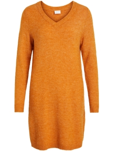 Vila Jurk VIVIKKA L/S KNIT V-NECK DRESS - NOOS 14052907 Golden Oak/MELANGE
