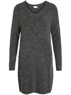 vivikka l/s knit v-neck dress - noos 14052907 vila jurk dark grey melange
