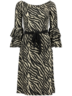 IZ NAIZ Jurk DRESS RUFFLE 3644 BROWN ZEBRA
