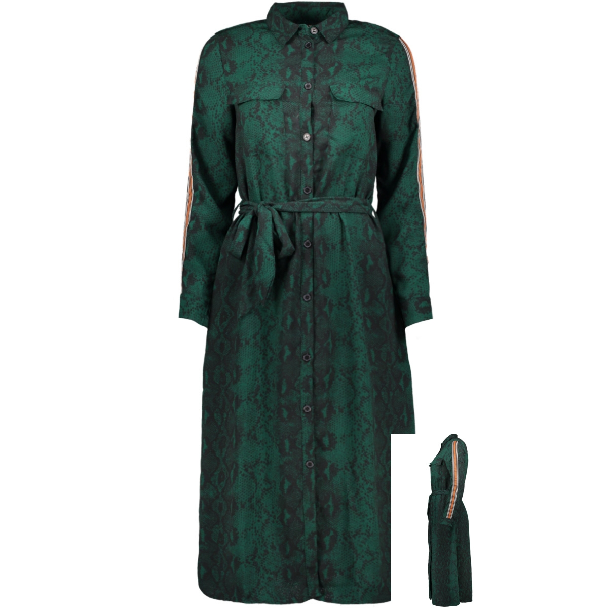 onlkaty l/s  midi shirt dress wvn 15186221 only jurk forest biome/snake