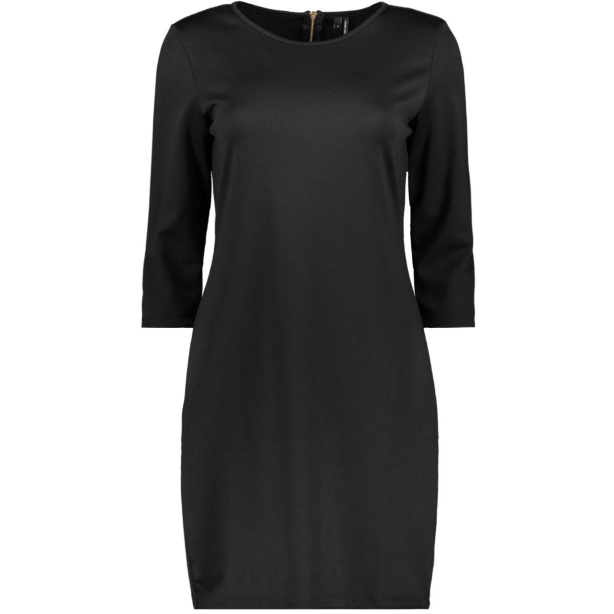 vmvigga 3/4 plain short dress color 10225338 vero moda jurk black