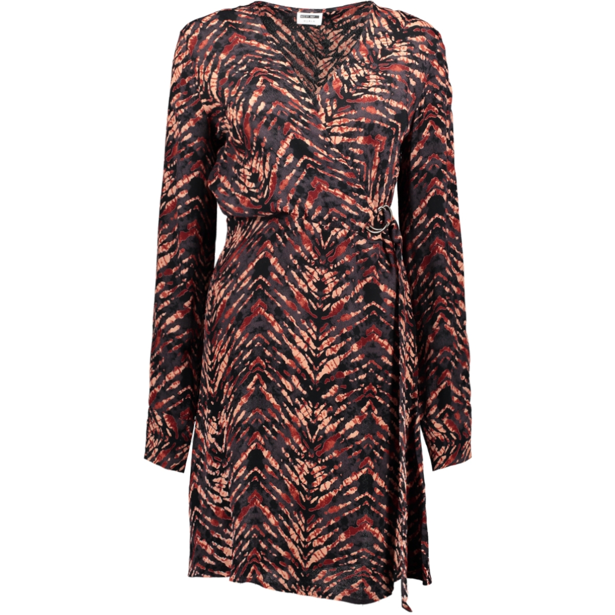 nmurban l/s buckle dress 27010033 noisy may jurk tandori spice/animal print
