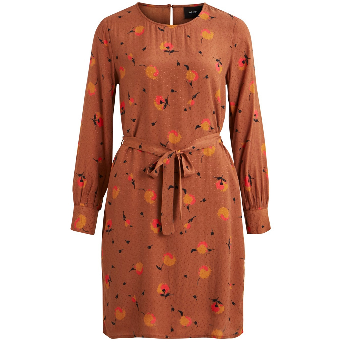 objsoyan rory l/s dress 106 23031119 object jurk brown patina/aop
