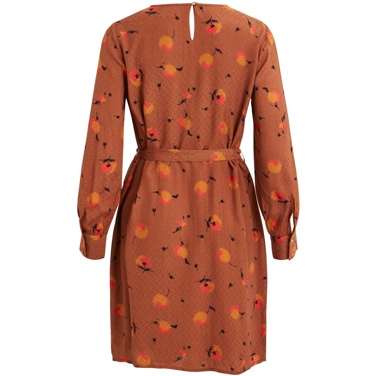 objsoyan rory l/s dress 106 23031119 object jurk brown patina/aop