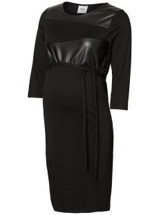 Mama-Licious Positie jurk MLNEYE 3/4 JERSEY PU ABK DRESS 20010284 Black/PU