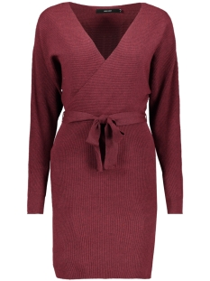 vmremi ls v-neck dress 10221499 vero moda jurk madder brown