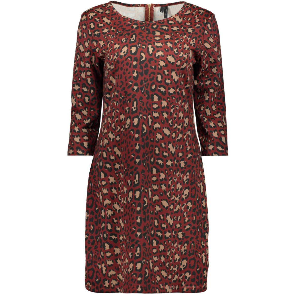 vmvigga 3/4 plain short dress aop c 10226296 vero moda jurk madder brown/lea