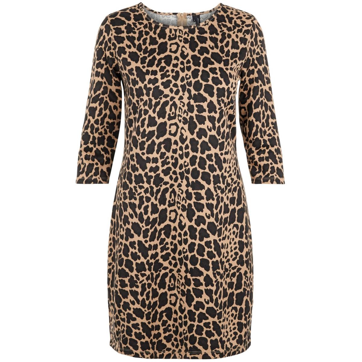 vmvigga 3/4 plain short dress aop c 10226296 vero moda jurk silver mink/lea