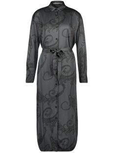 Aaiko Jurk GREY FLOWER DRESS  PALMA PAISLEY VIS 612 STEEL GREY