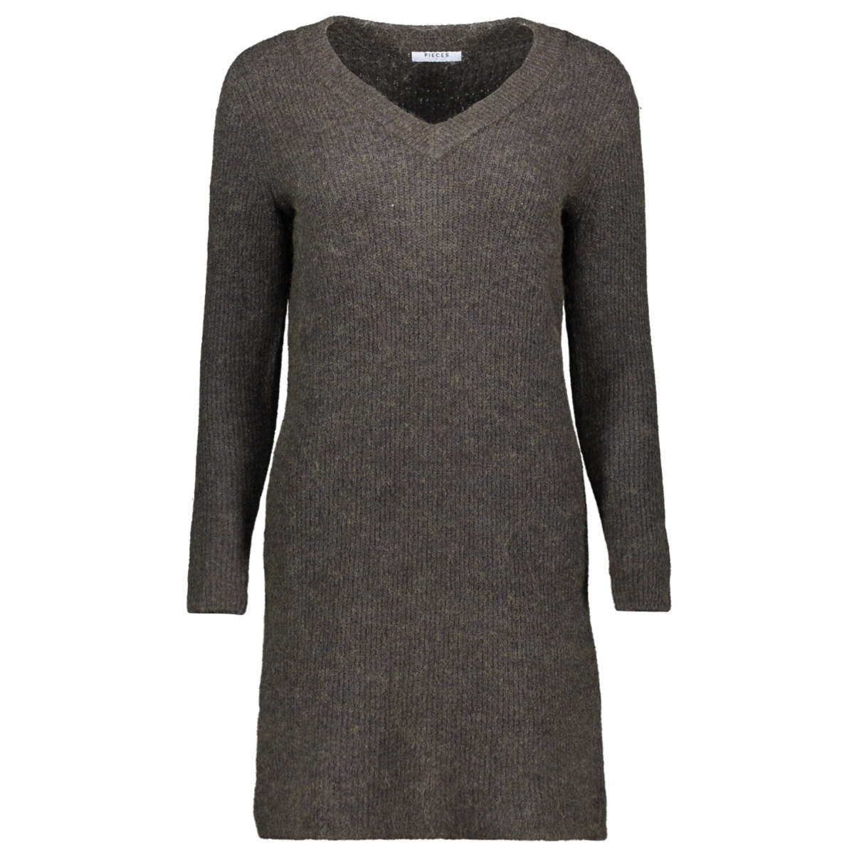 pcellen ls v-neck knit dress 17099342 pieces jurk dark grey melange