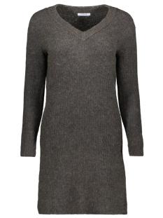 pcellen ls v-neck knit dress 17099342 pieces jurk dark grey melange