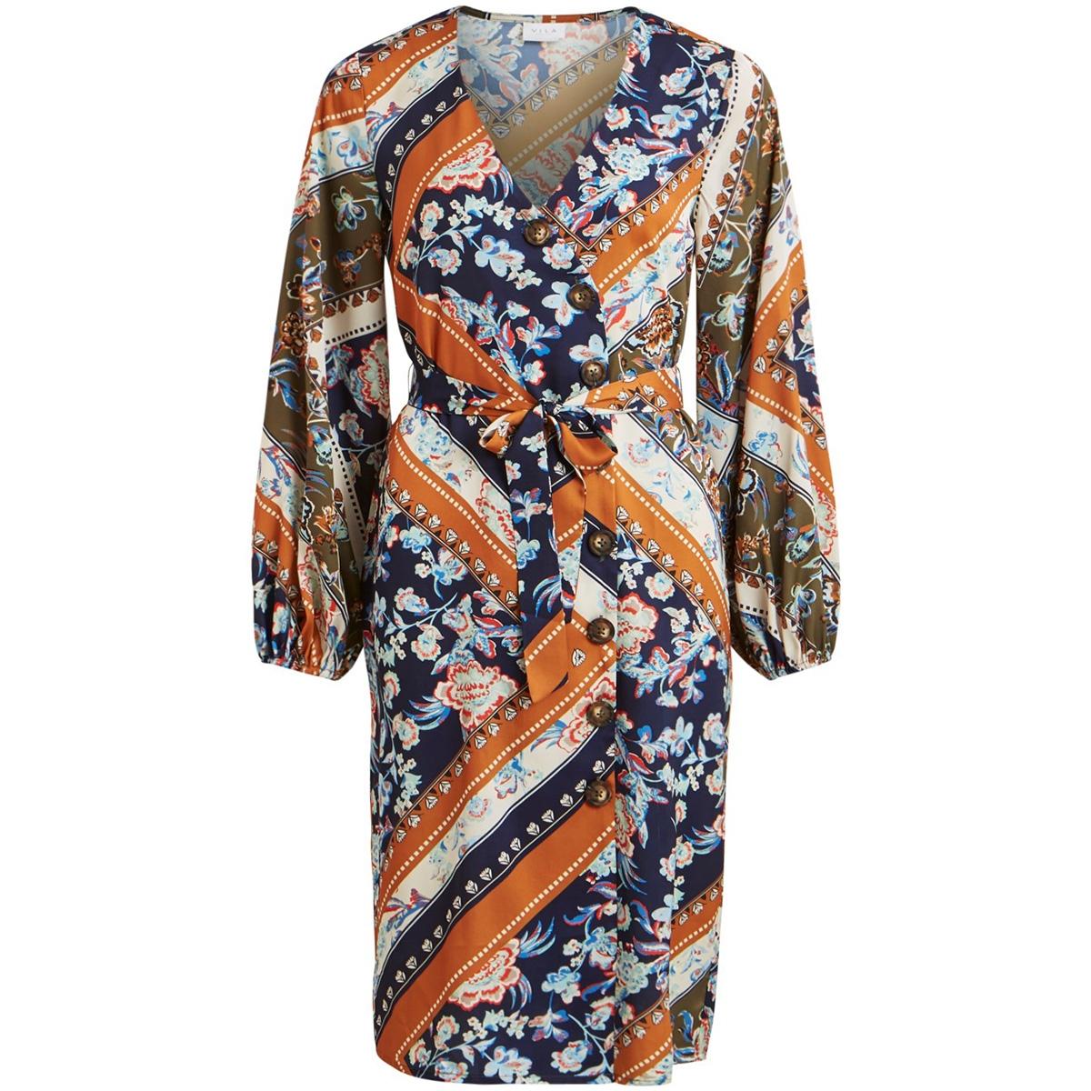vitrenta l/s dress 14055633 vila jurk navy blazer/ethnic