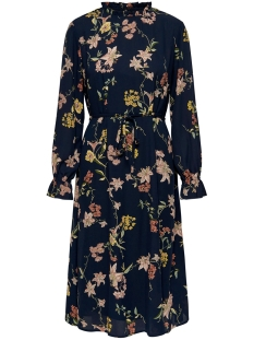 Jacqueline de Yong Jurk JDYJADE L/S LONG DRESS WVN 15198844 Navy Blazer/FLORAL