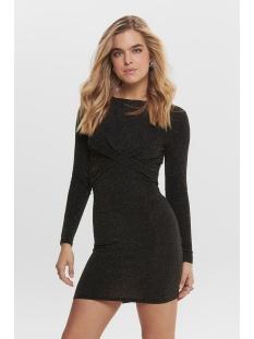 onlqueen l/s glitter twist dress jr 15189967 only jurk black/gold lurex
