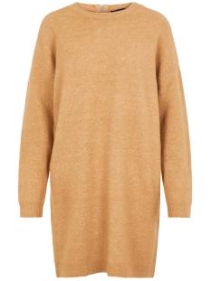 vmblakely iva ls o-neck zipper dres 10215516 vero moda jurk tobacco brown/melange