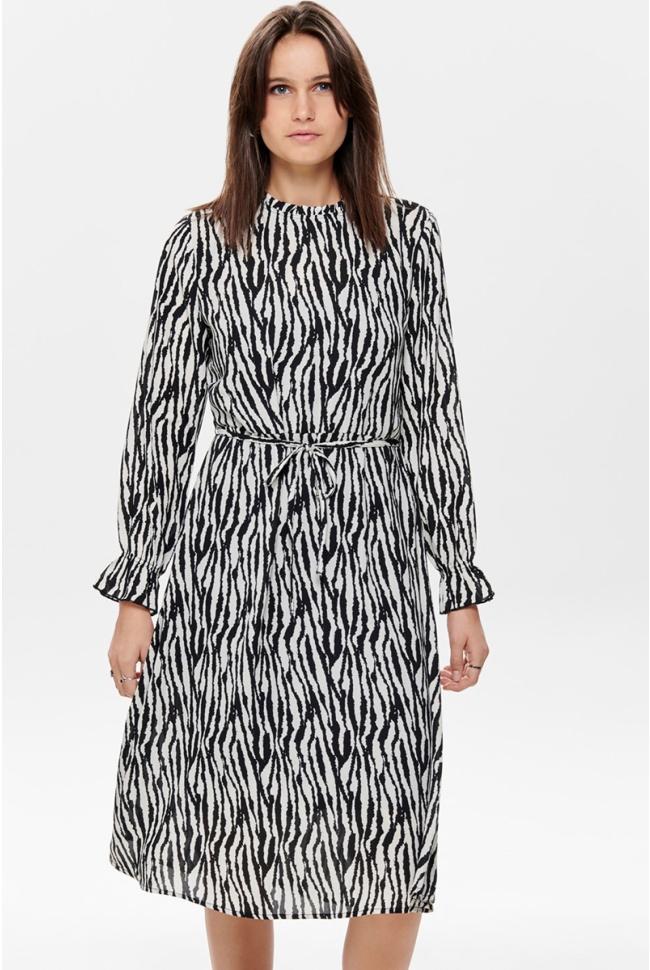 jdyjade l/s long dress wvn 15198844 jacqueline de yong jurk black/zebra