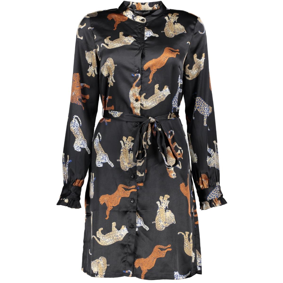 pckimi ls shirt dress d2d 17096439 pieces jurk black/real leopard