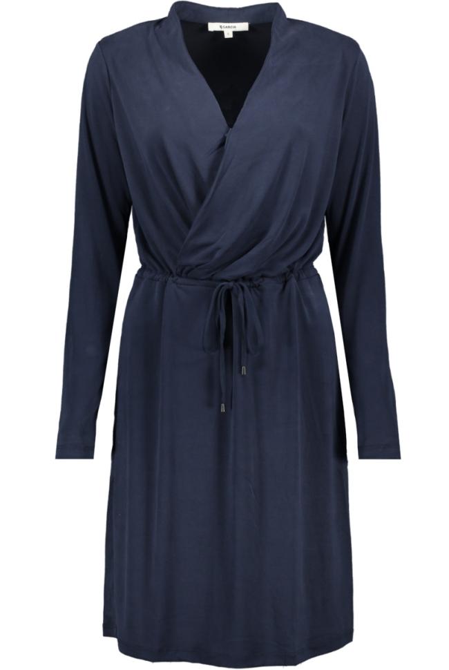jurk met overslag effect j90280 garcia jurk 292 dark moon