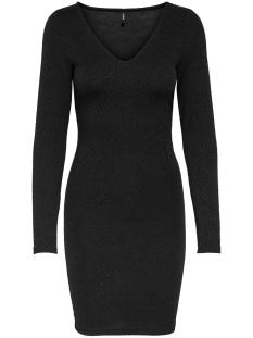 Only Jurk ONLSHINE L/S V-NECK BODYCON DRESS J 15189787 Black/BLACK