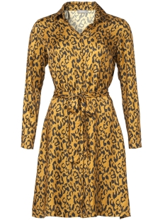 Geisha Jurk DRESS LEOPARD AOP WITH STRING 97821 Mustard/Black combi