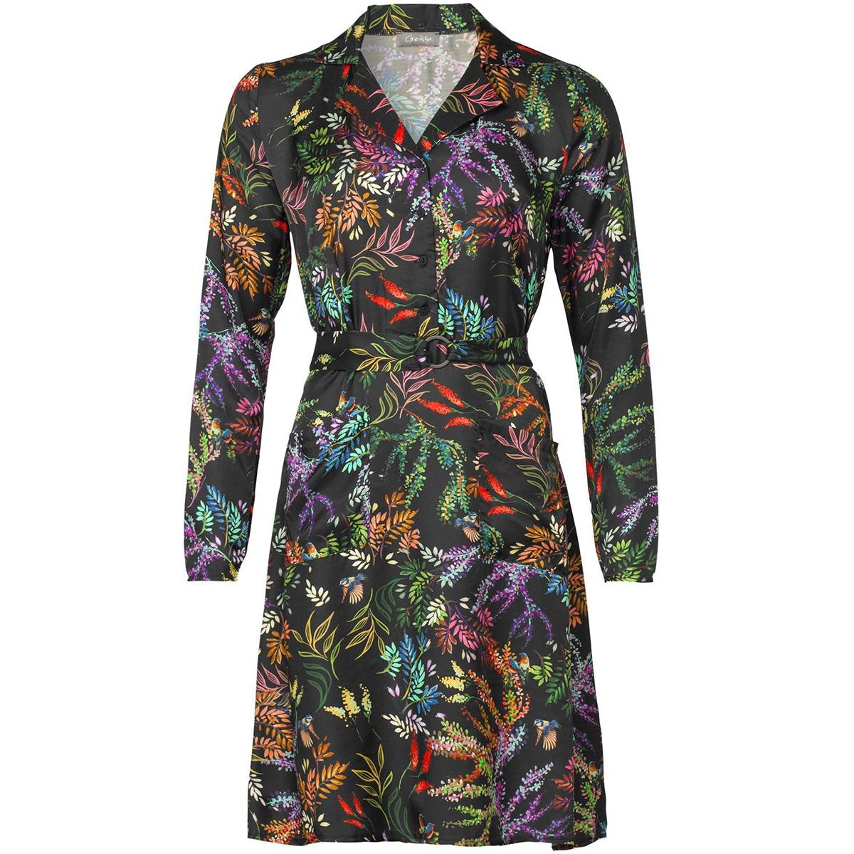 dress aop flower with strap 97827 20 geisha jurk 000999 black/multi color