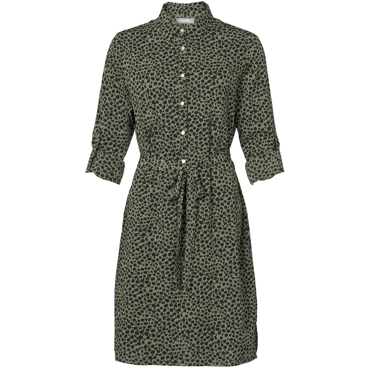 dress with buttons aop leopard 97853 21 geisha jurk 000550 army/black panter