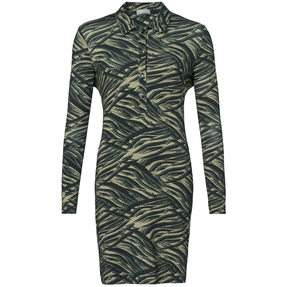 dress aop zebra 97871 60 geisha jurk 000550 army comb