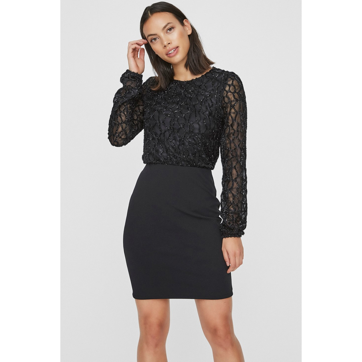 vmdoris ls short dress jrs 10221643 vero moda jurk black/glitter