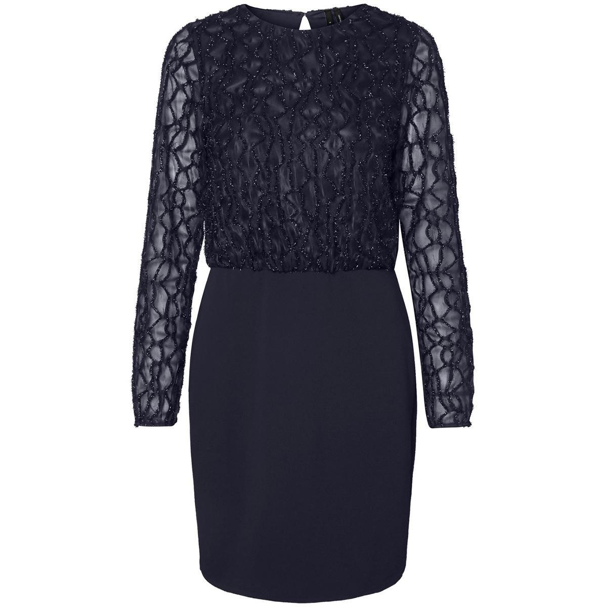 vmdoris ls short dress jrs 10221643 vero moda jurk night sky/glitter