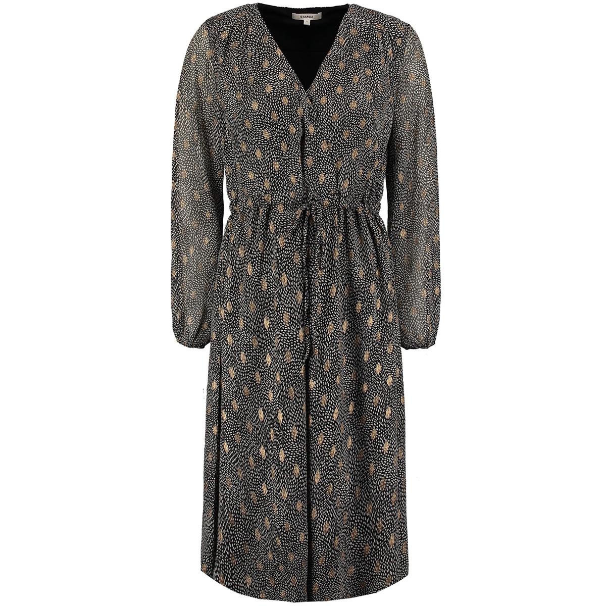 jurk met dubbele all over print ge901001 garcia jurk 60 black