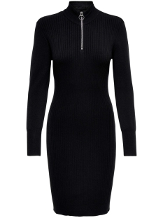 Only Jurk ONLTYRA L/S HIGHNECK ZIP DRESS KNT 15184509 BLACK