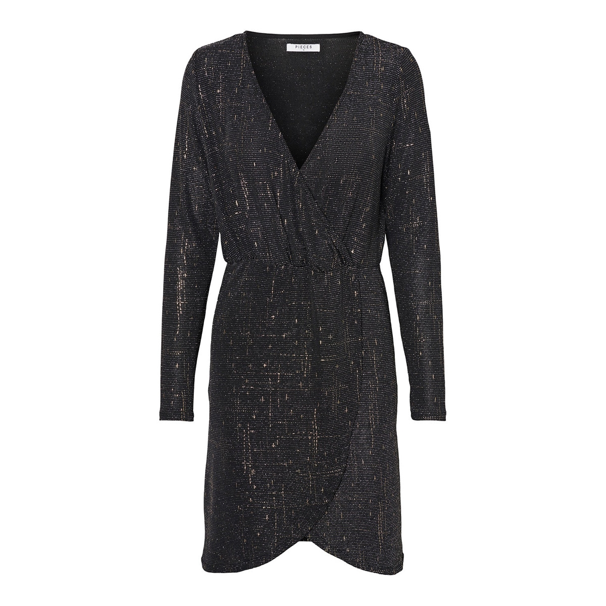 pcjistelle ls fake wrap dress 17099882 pieces jurk black/gold foil