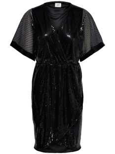 jdypixie s/s wrap dress wvn exp 15194746 jacqueline de yong jurk black/black sequ