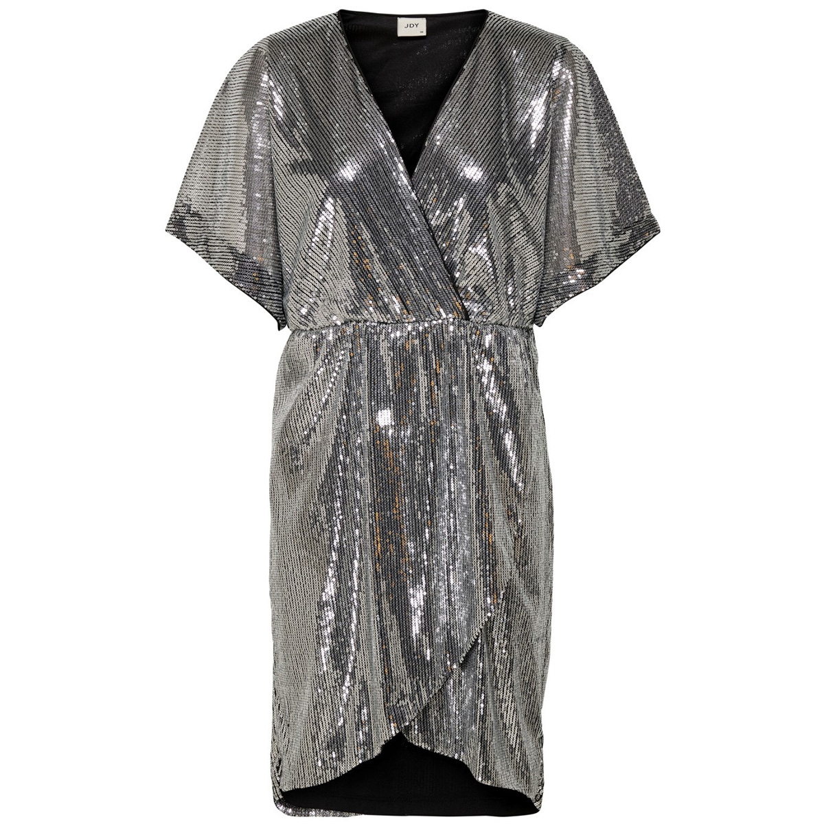 jdypixie s/s wrap dress wvn exp 15194746 jacqueline de yong jurk black/silver seq