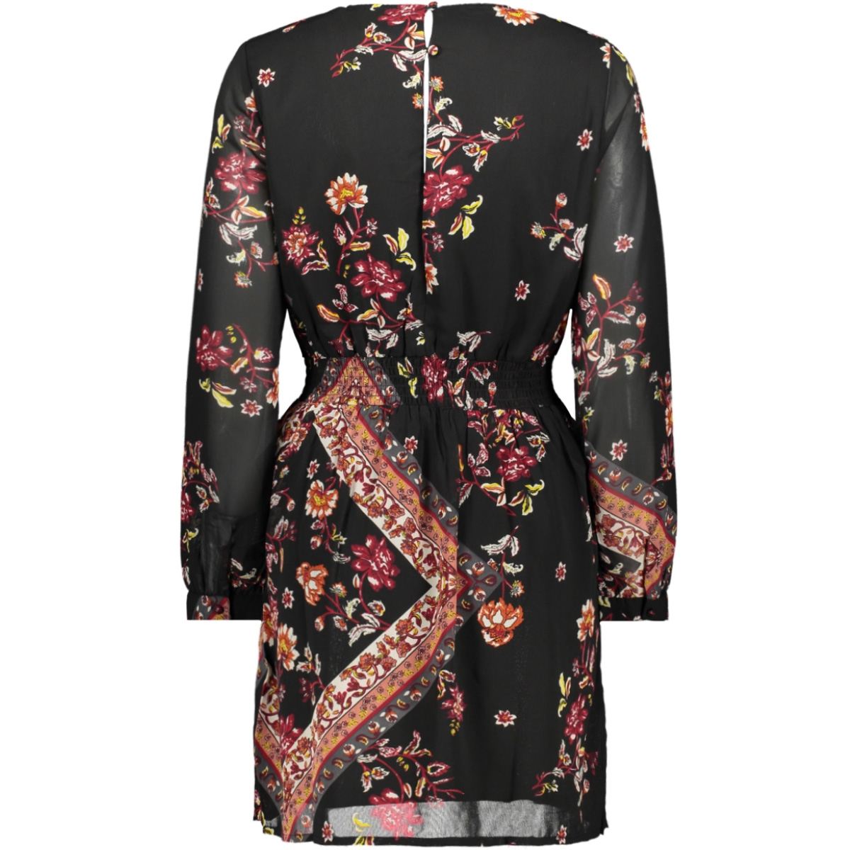 onlnina l/s short dress wvn 15191747 only jurk black/scarf flowers r